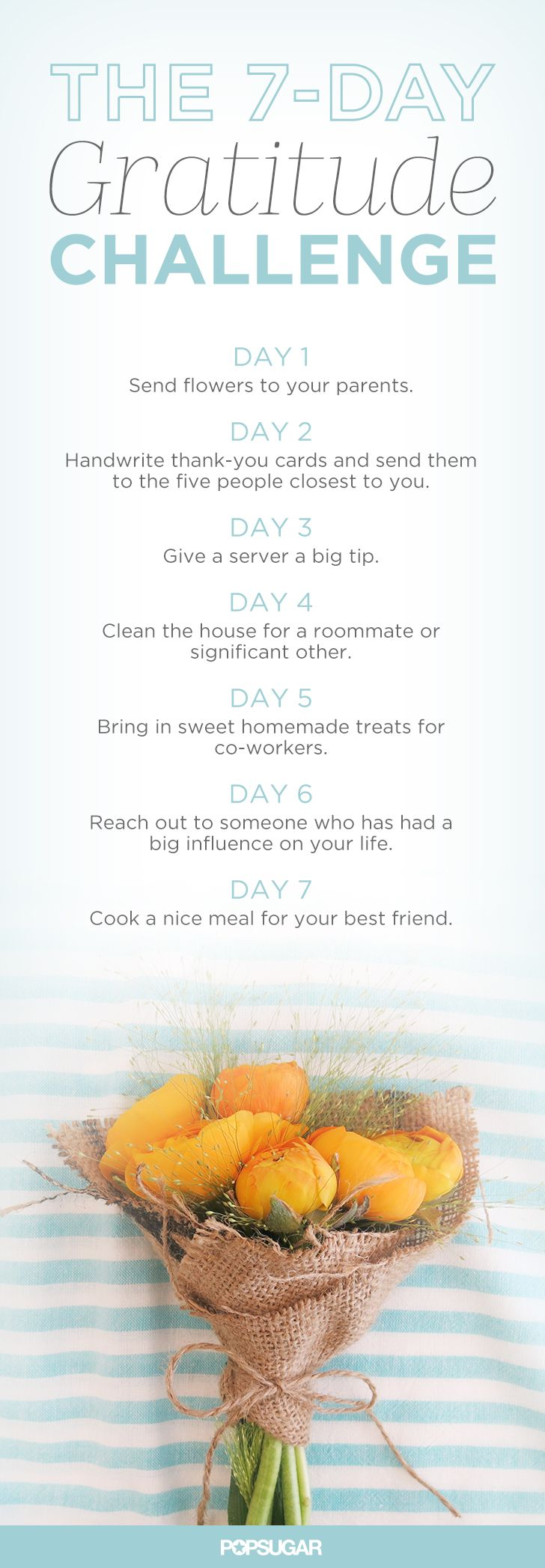 We've created a challenge designed to help you show your gratitude to the ones who have positively impacted your life. From your closest family members to the smiling server who makes your coffee every morning, here's how to give thanks seven days straight.