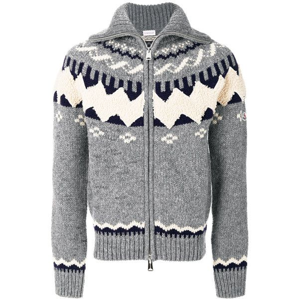 Moncler zipped chunky knit cardigan ($1,195) ❤ liked on Polyvore featuring men's fashion, men's clothing, men's sweaters, grey, mens grey cardigan sweater, mens zip cardigan sweater, mens chunky knit sweater, mens cardigan sweaters and mens zip sweater