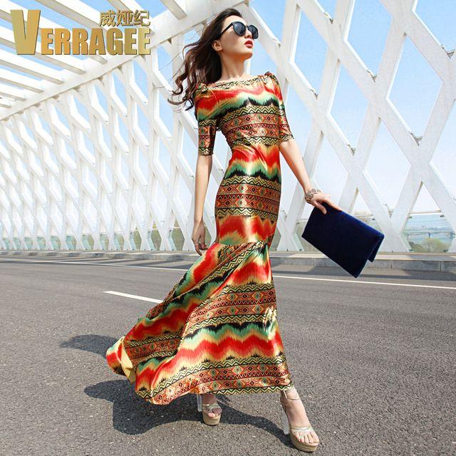 2016 New spring summer fashion vintage print dünnes paket-hüfte fischschwanz kleid der halben hülse frauen maxi kleid plus größe