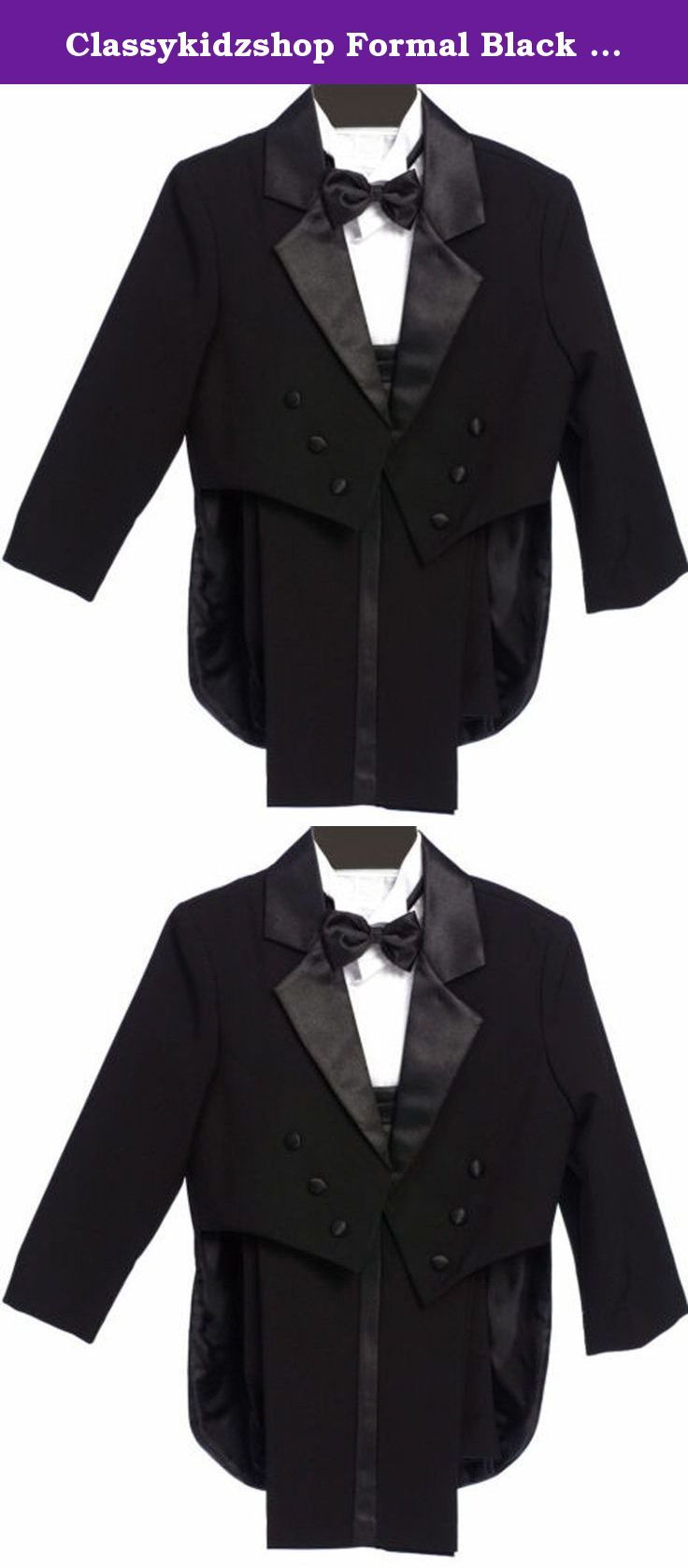 Classykidzshop Formal Black Tuxedo with Tail Cummerbund Bowtie Suit 2T. High quality brand tuxedo with jacket with tail, cummerbund, bow tie, long sleeve formal white suit shirt, black vest, and pants. The jacket is completely lined in polyester material with tail style and two buttons to close on the front. The matching white long sleeve tuxido shirt comes with black satin bow tie. The matching black pants have two individual pockets at both sides with black shinning satin striped down…