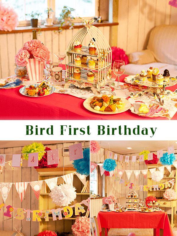 イギリスはtalking Tableのバードシリーズはパーティのハッピーアイテムに認定!幸せは、身近な鳥かごの中にあるという青い鳥のストーリーにもあるように、幸せをまいこませるバードシリーズでbabyもママもママ友もしあわせ倍増しちゃうオトナ可愛いコーディネートで祝福! バナーは、お子様の成長過程の写真を張り付けることができるタイプと、アルファベットシールでオリジナリティが出せるタイプを縦横無尽に飾り付け、フラワーポムも吊るすだけでなく転がしたり、棚の上に置いてディスプレイすると、ポストカードのように愛らしい絵になります!