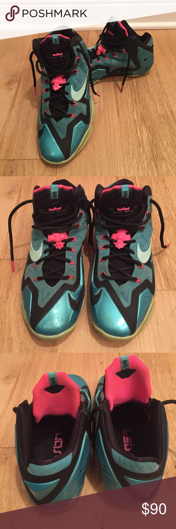 Men's Lebron 11 South Beach Sneakers Men's turquoise, pink and black Lebron 11 South Beach sneakers. Size 8.5. Worn, but in very good condition. Nike Shoes Sneakers