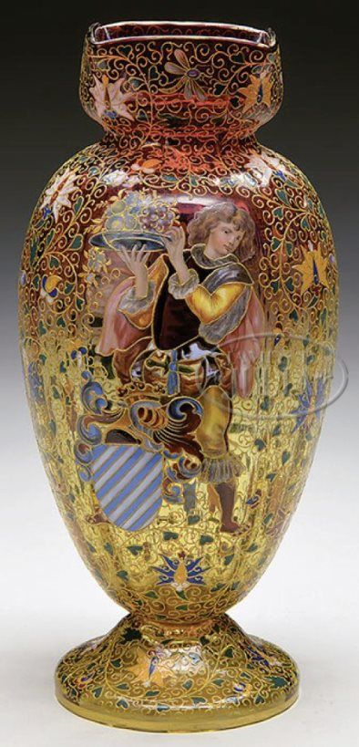 Moser Glass; Vase, Amberina, Courtier Figure, Enamel Flowers, Butterflies & Insects, 13 inch. Circa 1875 -1925.