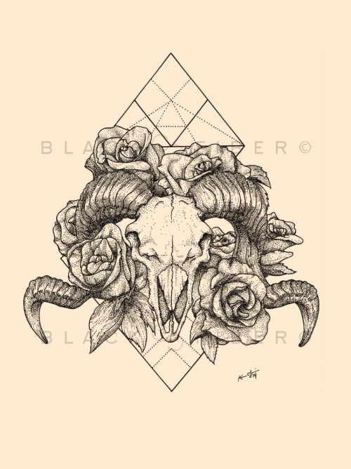 Love the backdrop to this. Ram skulls, flowers and geometric!