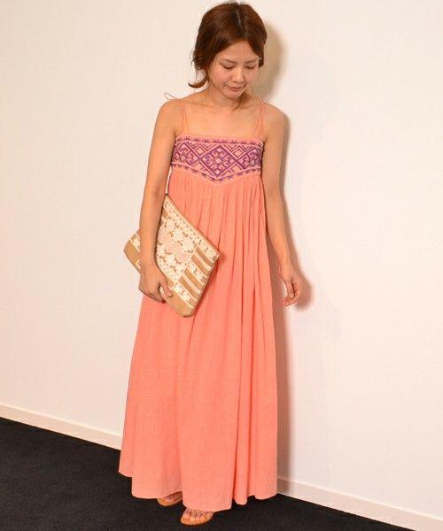 navasana(ナバアサナ)の綿スラブイカット柄刺繍マキシOP/712-NAJ-N141-OP051(ワンピース・ドレス)|ピンク