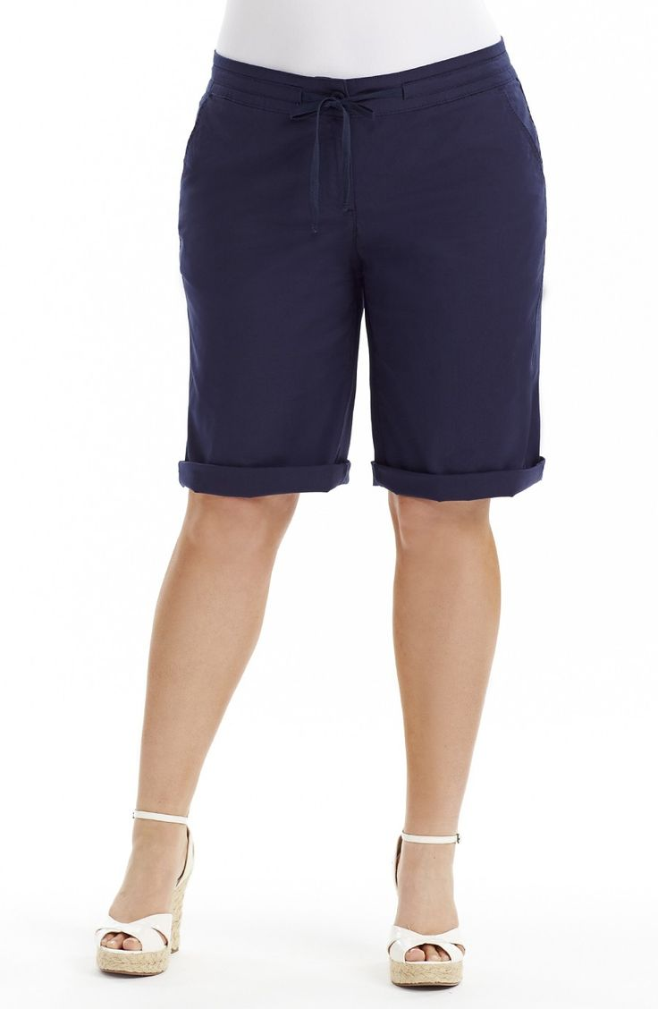 Drawstring waist Short - Dark Ink Style No: SHO118 Stretch linen Look Cotton fabric short. This short is Knee length and has a fly front. It can be worn with the hem turned up to create a cuff or not.. you choose. The short has a Draw string waist , two side pockets at the front and two patch pockets on the back.  #plussize #dreamdiv #dreamdivafiles