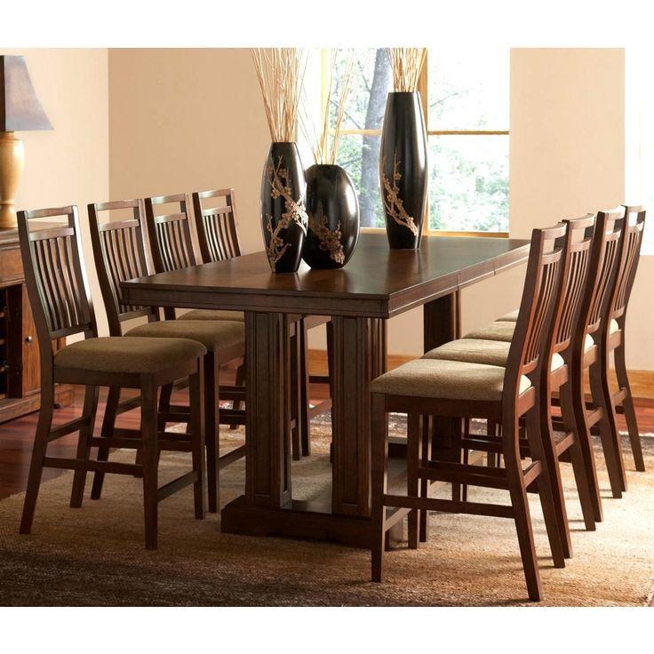 marissa dark oak 9piece counter height dining set