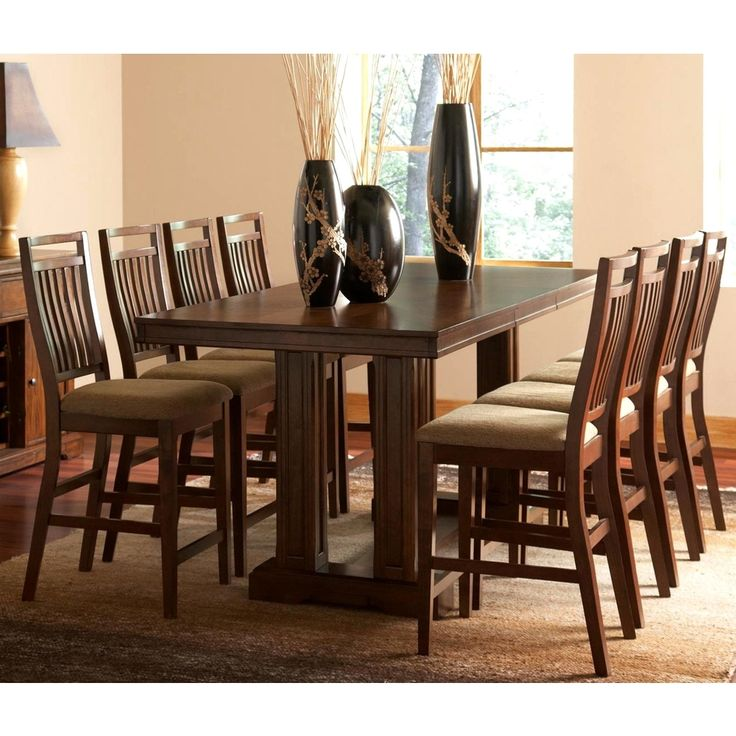 Marissa Dark Oak 9 Piece Counter Height Dining Set