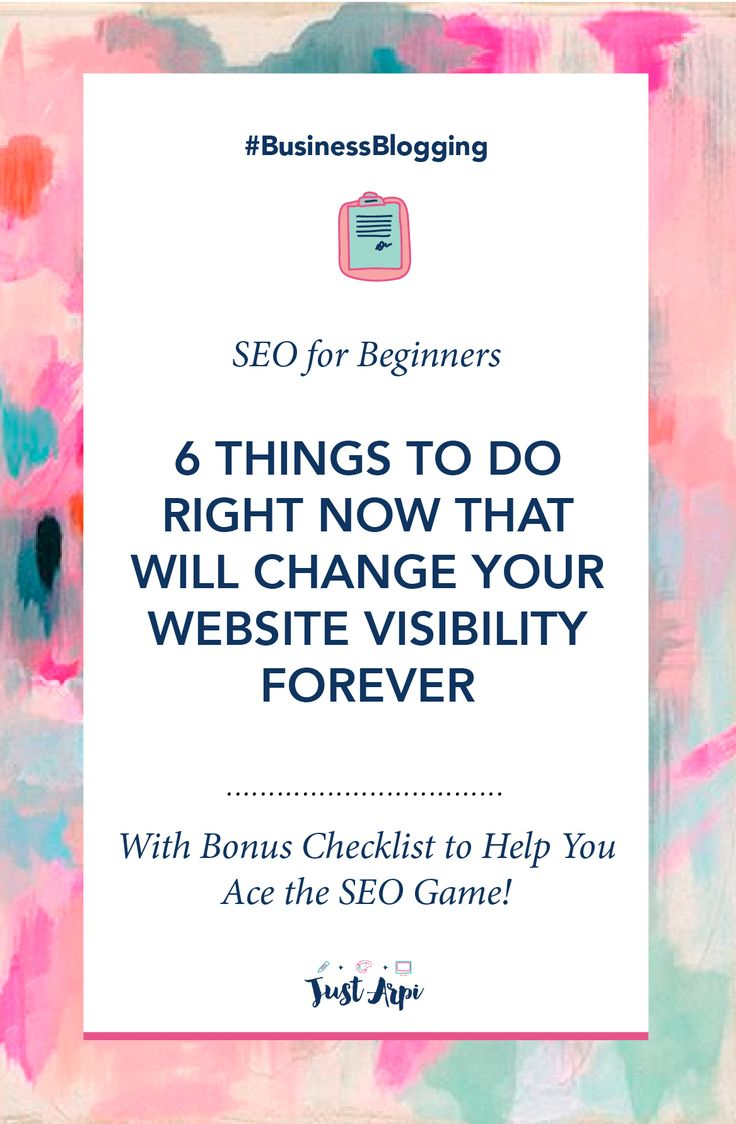SEO for Beginners | 6 Things to do right now that will change your website visibility forever. These are practical steps to do to soar your website traffic. I did them and it worked for me #SEObasics #SEOmustdo #SEOchecklist #SEO Pin now, read later