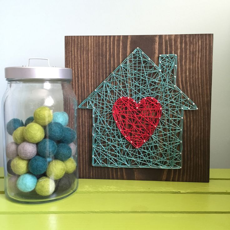 MADE TO ORDER String Art Home is Where the Heart Is Sign |  9.25″ Square