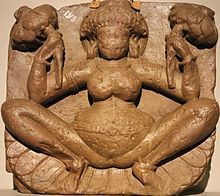 Lajja Gauri - a goddess associated with abundance and fertility, and she has been euphemistically described as Lajja (that is, modesty).Early depictions of Lajja Gauri in Shaktism cults were found in the Indus Valley seals, though her later depiction dates to the 1st-3rd centuries, and her worship is prevalent in the Deccan, a region of the Indian subcontinent.