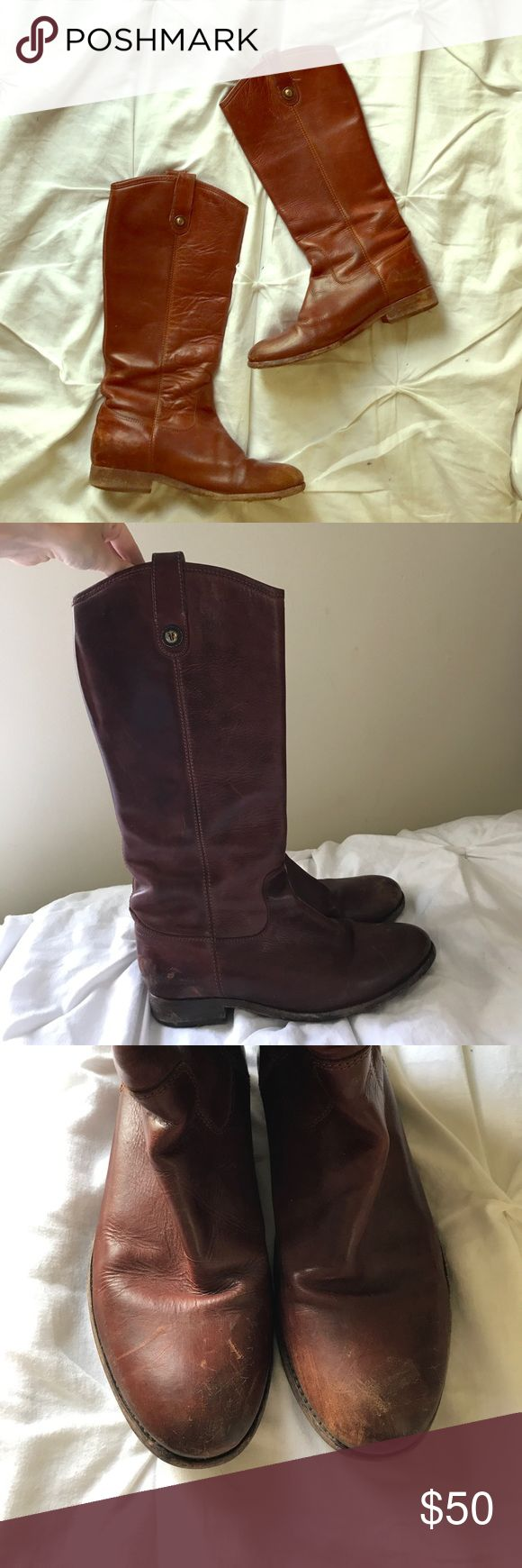 Frye Melissa Button Boots Well worn Frye Melissa Button Boots. Broken in and very soft! A few scuffs around the heels and toes, as seen in pictures. Otherwise, leather is in great condition. Frye Shoes Winter & Rain Boots