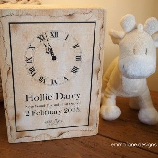New Baby wooden keepsake with clock for time of birth, the perfect gift  |  Emma Lane Designs. £19.50