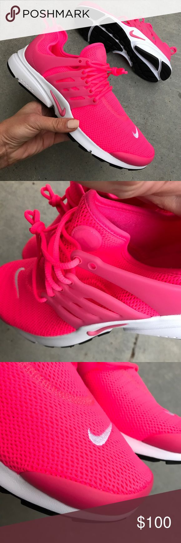 NWOB NIKE AIR PRESTOS SIZE 10 women's New never worn NIKE AIR PRESTO SIZE 10 women's. This shoe is beyond perfect for fashion AND function. THIS HOT PINK COLOR! Ships same or next day from smoke free home. No box. Will ship wrapped in tissue in a new, clean shipping box. Bundle items to save. PRICE IS FIRM Checkout all my NIKE listings. ⚡️100% authentic Nike product purchased directly from NIKE Nike Shoes Athletic Shoes