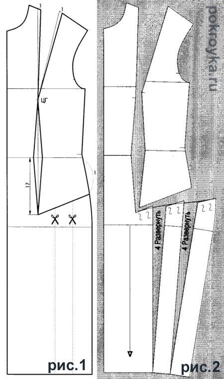 Вариант 10. Платьес рельефом от плеча и сборкой по боку РИС.1 1. Начертить выкройку переда платья. 2. Верхнюю вытачку по линии плеча сместить на 1 см в сторону проймы. 3. По линии бокового среза от линии талии отмерить 11 см вниз. 4. От полученной точки до конца вытачки по талии начертить линию разреза. 5. Начертить [...]