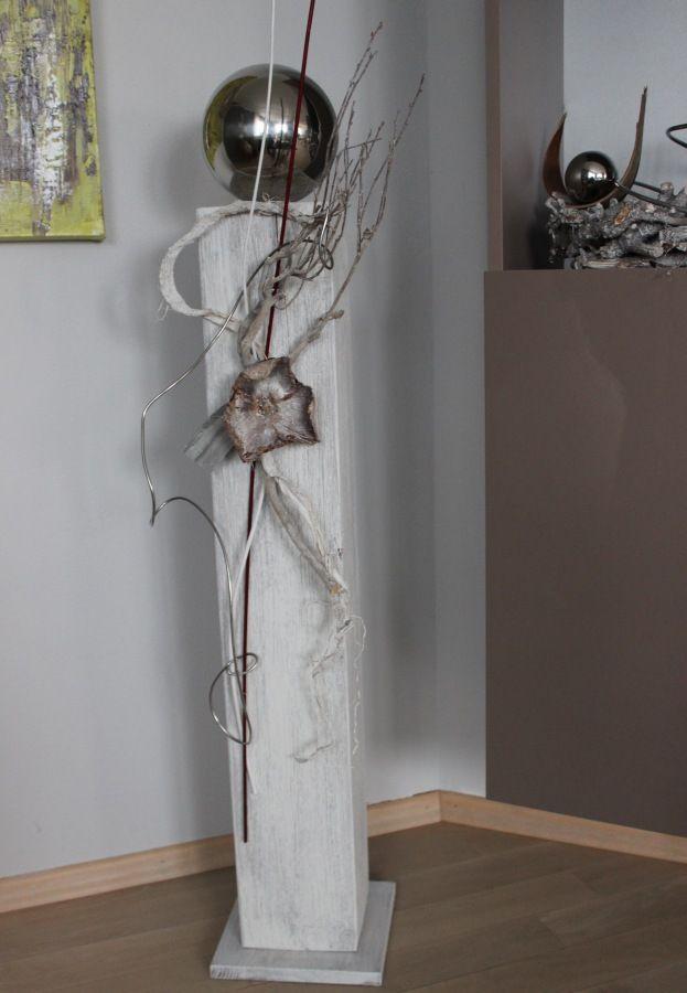 gs29 gro e dekos ule f r innen und au en gro e s ule aus neuem holz gebeizt und wei. Black Bedroom Furniture Sets. Home Design Ideas