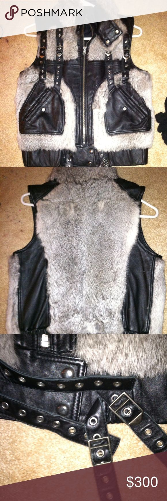 CUSTOM MADE REAL LEATHER/RABBIT FUR VEST SIZE SM CUSTOM MADE FOR ME MADE OF REAL LEATHER&RABBIT FUR SUCH A BAD BETCH VEST INSANE DOPE SIZE SMALL WOULD FIT XS-MED OFFER OR TRADES WELCOME CUSTOM MADE Jackets & Coats Vests