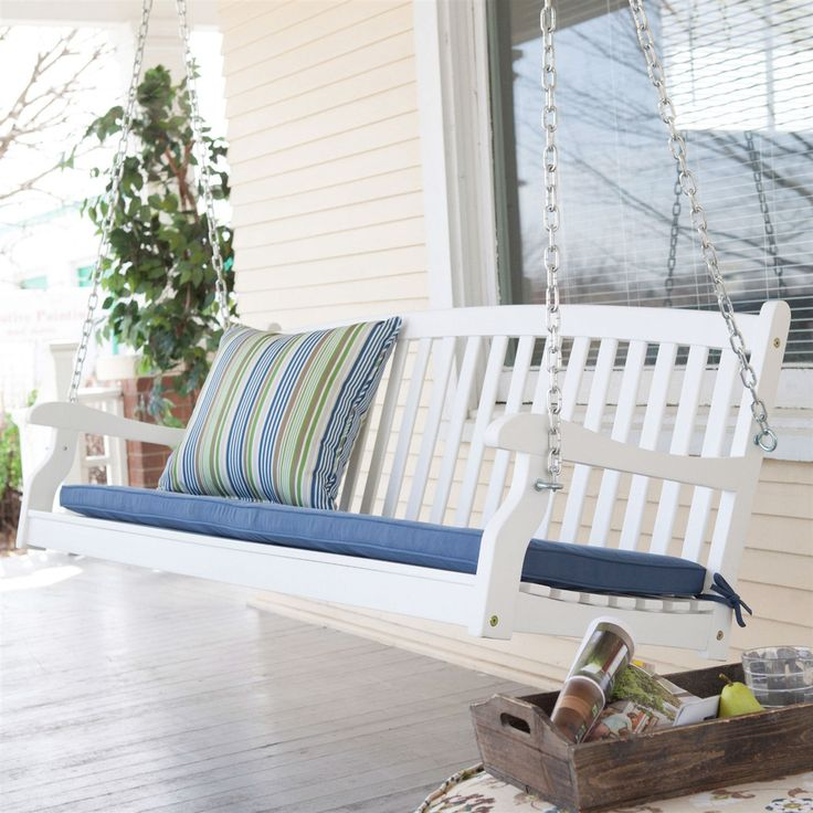 5-ft Weather Resistant Eco-Friendly White Wood Porch Swing with Classic Slat Curved Back - Loluxe