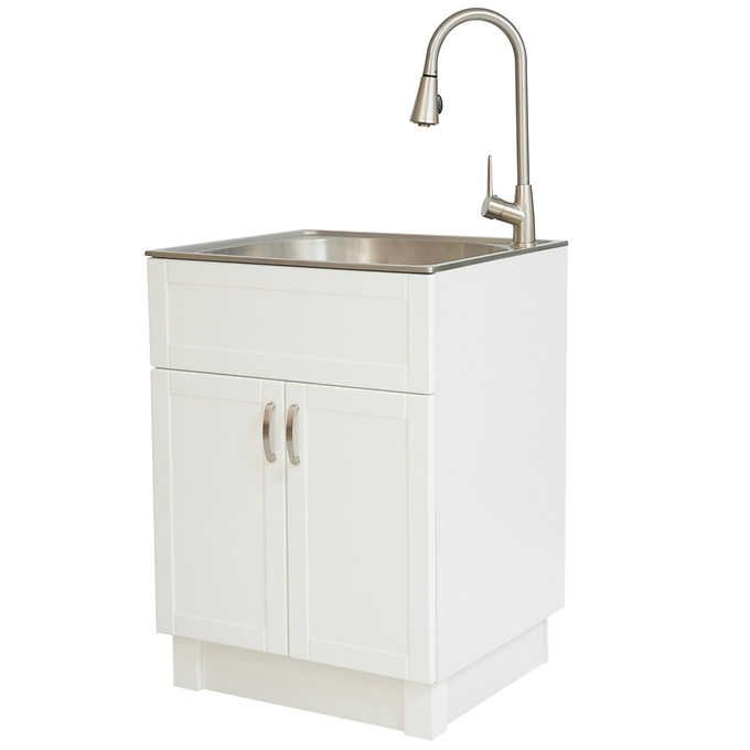 Transform 21 3 In Laundry Cabinet With Stainless Steel Sink Pull Down Faucet Sink Faucet Laundry Cabinets