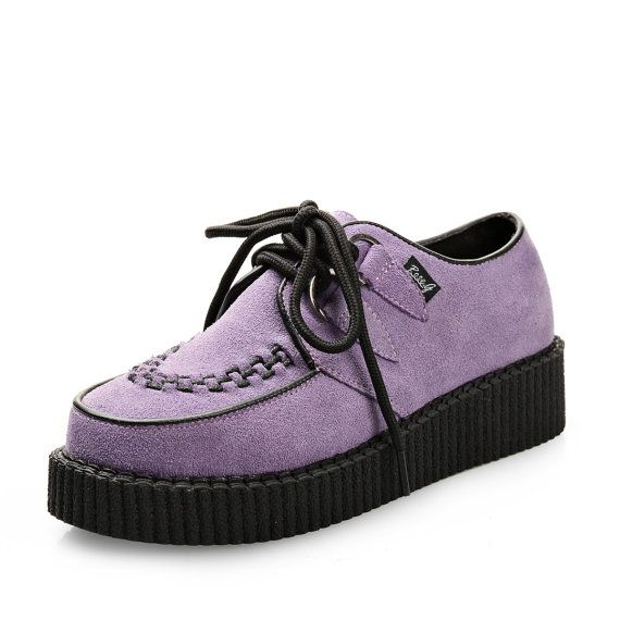 Fashion Handmade Suede women's Lace Up Flat Platform Goth Creepers Punk Casual Creeper Shoes Sneakers purple