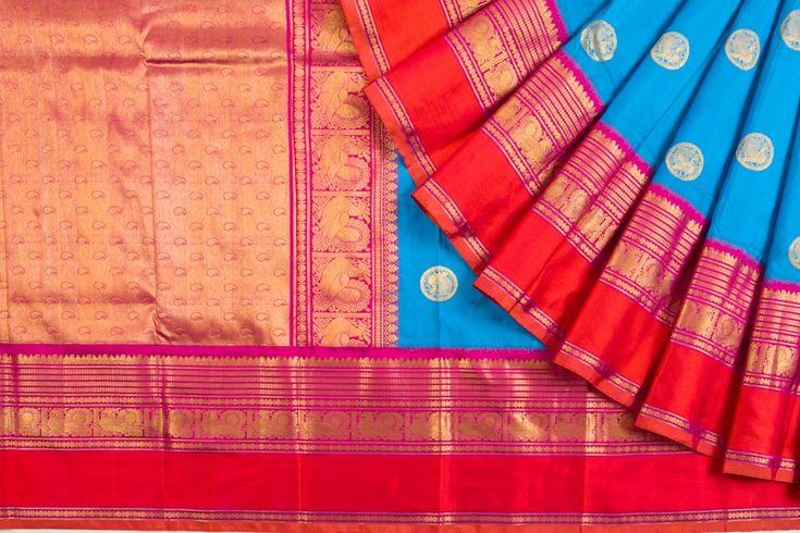 Kanchipuram Silk Butta Blue Saree