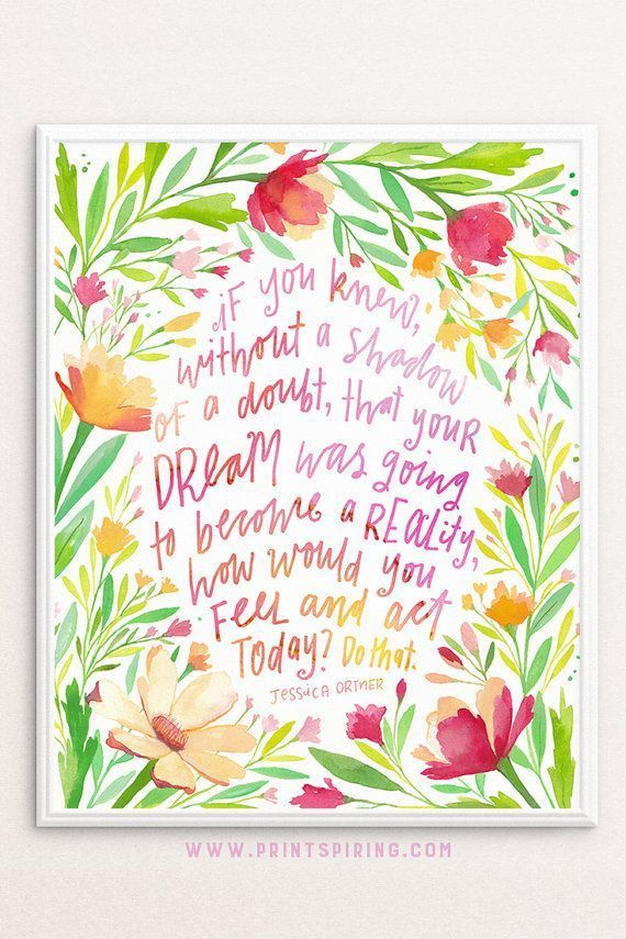 A good quote can be great motivation! Created in collaboration with Jessica Ortner from The Tapping Solution, these inspirational words will inspire you to take action! Surrounded by beautiful florals, this illustrative quote will bring inspiration to yo