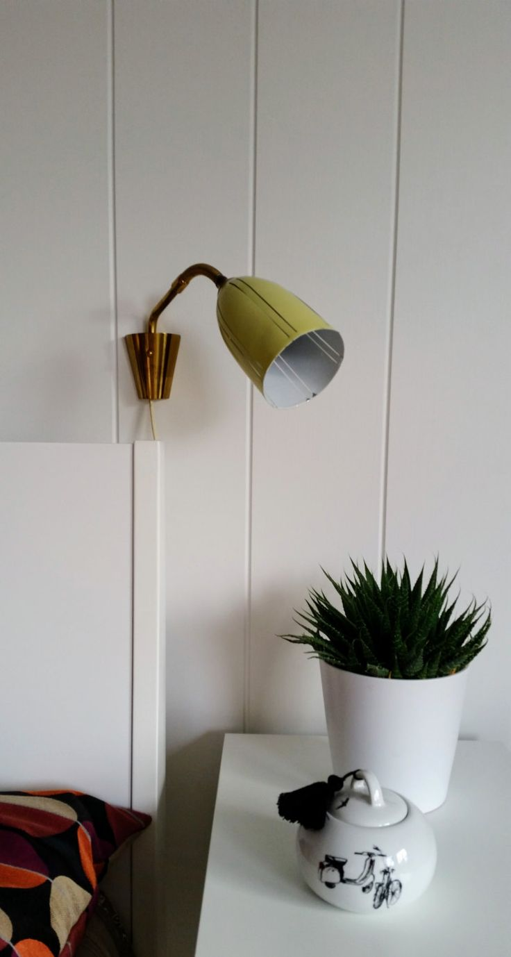 Hans-Agne Jakobsson soft yellow brass wall lamp 1950s flexible arm Swedish by NordicFiesta on Etsy