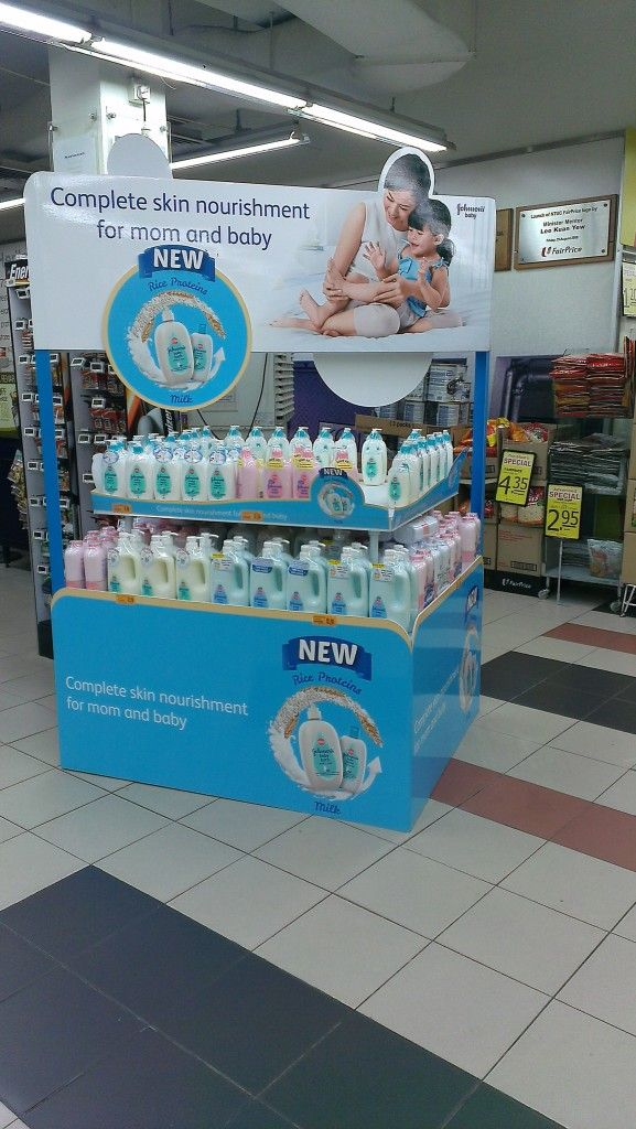 Johnson's Baby Bath Rice Proteins Milk Bath Display Pallet | Display Pallet | point of purchase at thesellingpoints.com