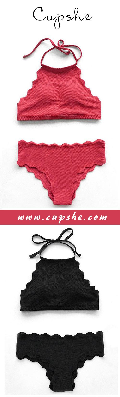 Stand out with this stunning strip bikini! $23.99 Now! Solid color and wave hem will hit any hot season. You'll surely be unforgettable with it! Find it at Cupshe.com !