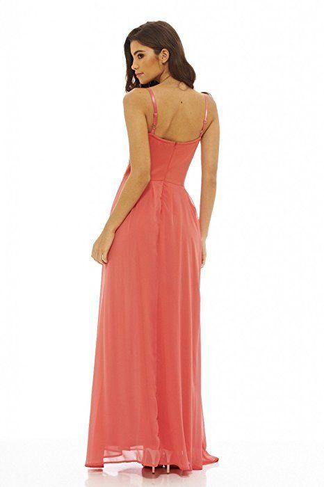 b01ae5c25a AX Paris Women s Lace Bodice Maxi Dress(Coral
