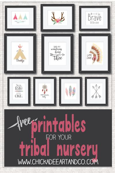 Free Tribal Nursery Art Printables from Chickadee Art and Company   http://www.chickadeeartandco.com/free-printables/