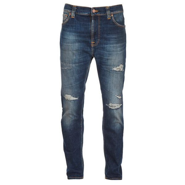 Nudie Jeans Men's Brute Knut Tapered Cropped Jeans - Blue Reed ($150) ❤ liked on Polyvore featuring men's fashion, men's clothing, men's jeans, men, pants, jeans, man, men's pants, blue and mens jeans