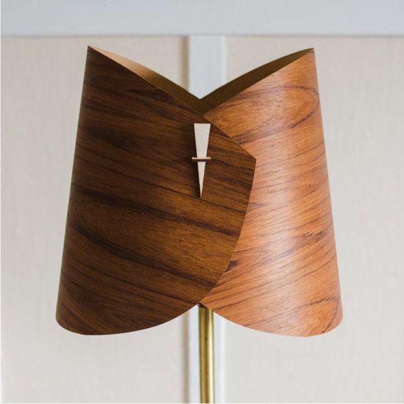 Wood Lamp Shade - Wood Floor Lamp Shade Wood Table Lamp Shade Modern Table Light in Veneer- Curves