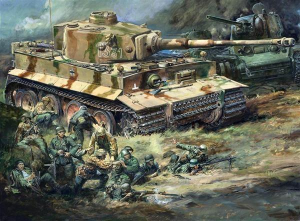 タミヤ1/25「ドイツ陸軍重戦車タイガーI型」プラモデル箱絵原画(昭和44年)