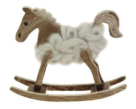 Deko-Schaukelpferd Wolle-Holz stehend 16 cm