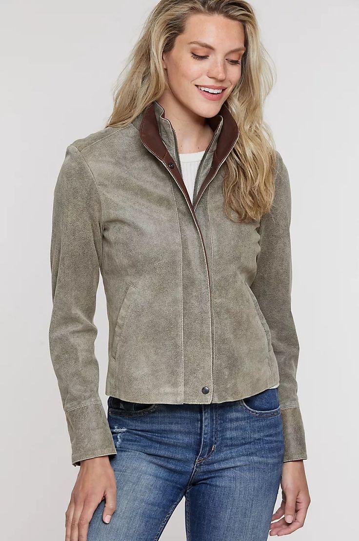 Rita Distressed Lambskin Leather Jacket Overland
