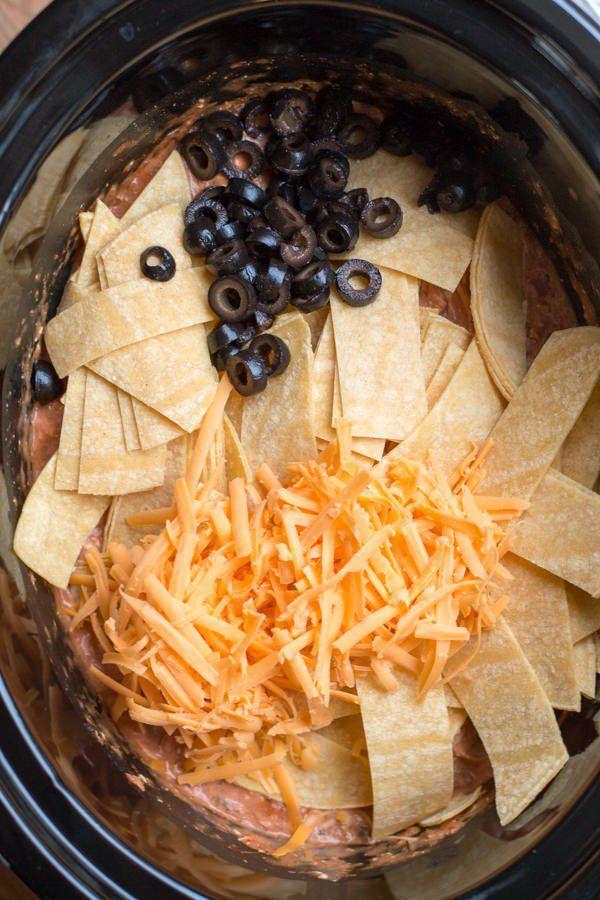 Slow Cooker Chicken, Salsa and Cream Cheese Enchilada Casserole
