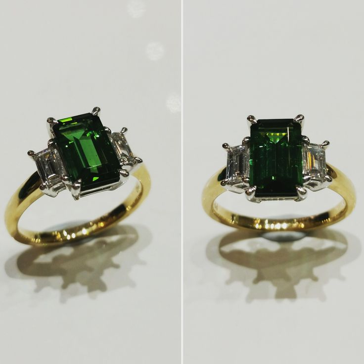 18ct yellow gold ring with natural green tourmaline and diamonds