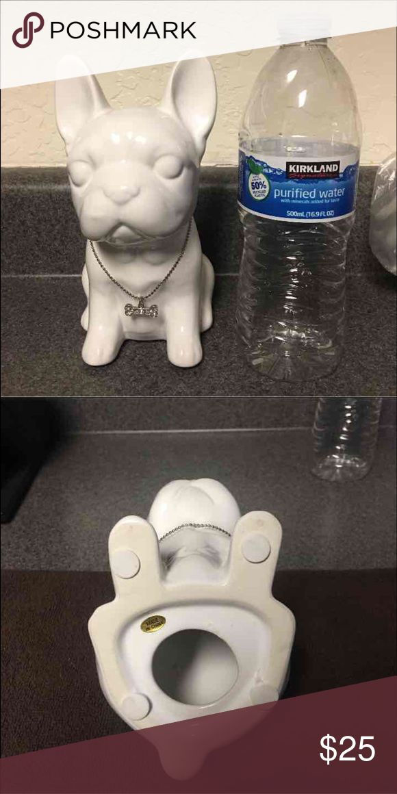 Cute white French bulldog pup Ceramic/porcelain ? Material Comes with a dogbone shaped bling chain  Home decor farmhouse Accessories