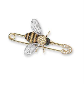 A DIAMOND, YELLOW SAPPHIRE AND EMERALD 'BEE' BROOCH, BY MICHELE DELLA VALLE