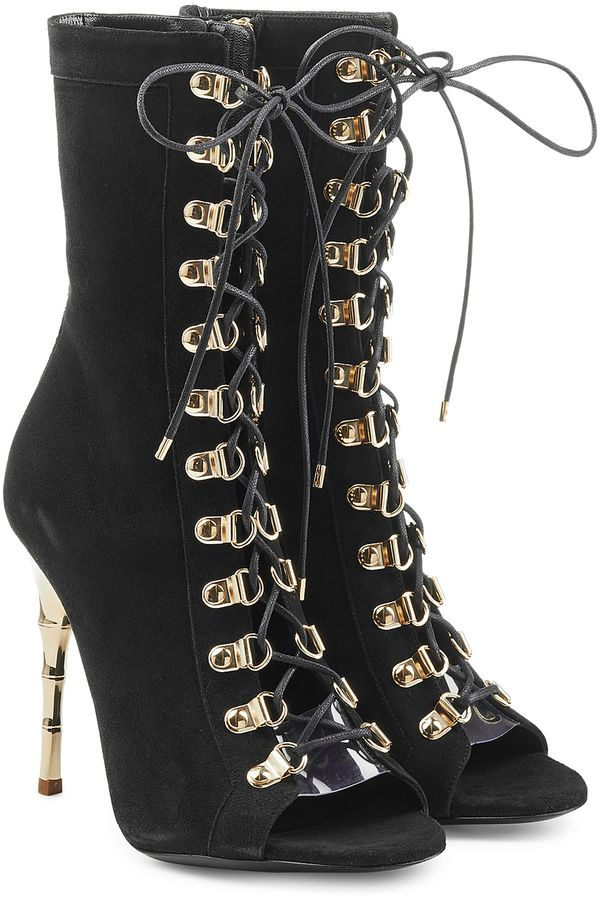 Balmain Lace Up Suede Boots with Metallic Stiletto Heel