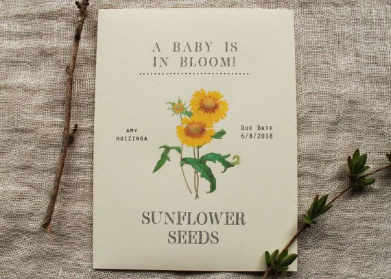 Sunflower Seed Envelope Favor Baby Shower Party by KayleighDuMond