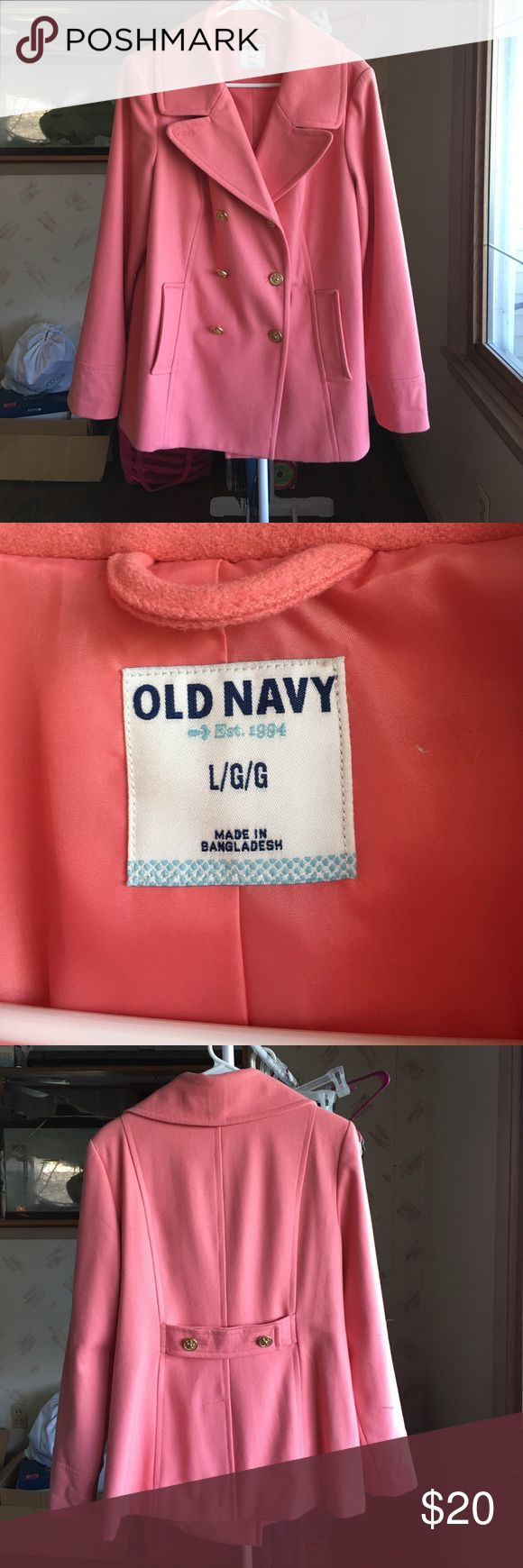 Old Navy Pea Coat NWOT never worn pink Old Navy pea coat. Gold buttons that are all attached.  Slit pockets in front with an inside button. Excellent condition. Old Navy Jackets & Coats Pea Coats