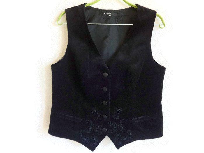 Velvet Women's Vest Black Waistcoat Embroidered Vest Traditional Vest Everyday Clothing Velvet Waistcoat Cotton Vest EU 40 Clothing Formal by Vintageby2sisters on Etsy