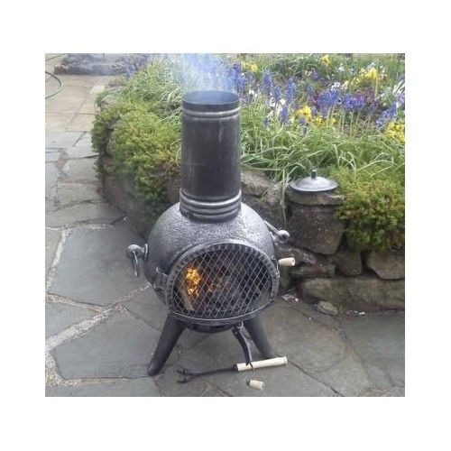 cast iron chiminea patio fireplace pit garden outdoor
