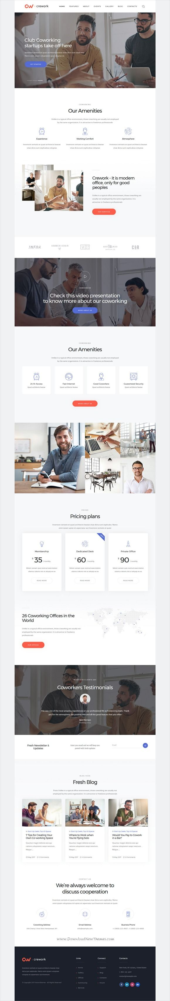 Crework is clean and modern design 3in1 responsive #WordPress theme for creative #coworking, open office, #workshop and conferences website download now..