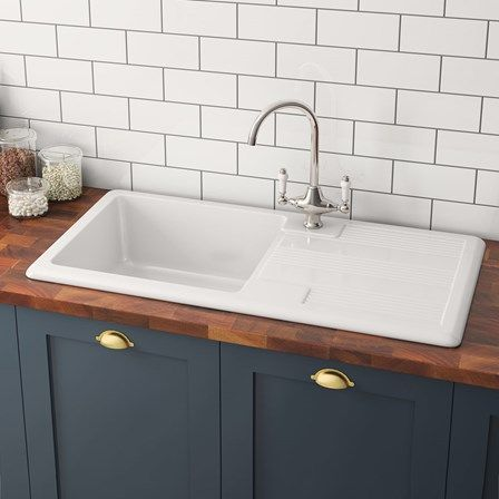 rak 1000 gourmet 1 bowl white ceramic kitchen sink waste kit with reversible drainer 1010 x 510mm - Ceramic Kitchen Sink