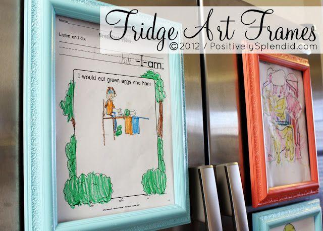 : Fridge Art, Art Frames, Splendid Crafts, Positive Splendid, Cute Idea, Art Display, Homes Decoration, Frames Art, Kids Artworks