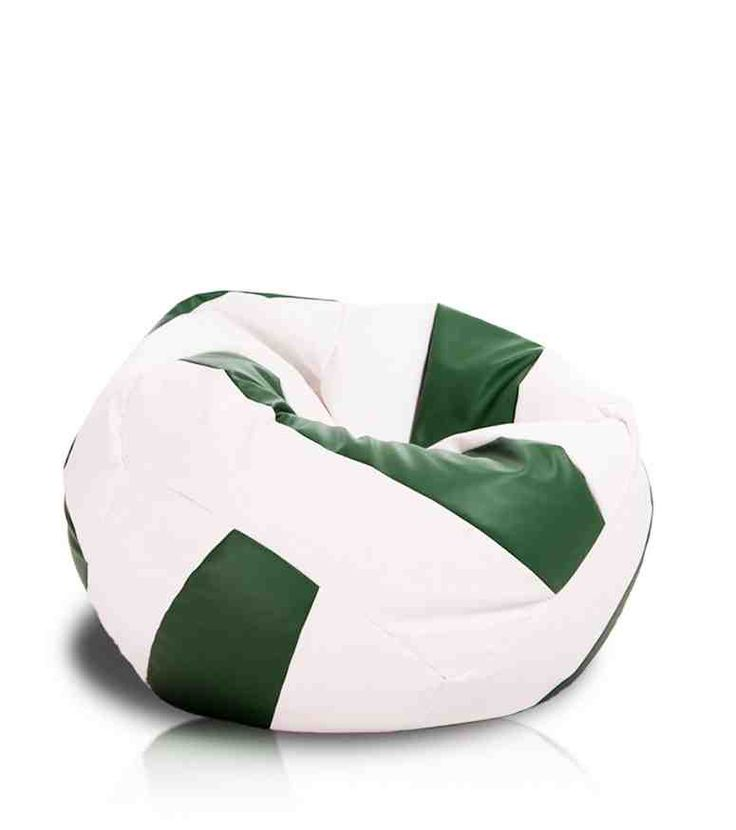 Turbo Beanbags Volleyball Style Large Bean Bag Chair White And Green