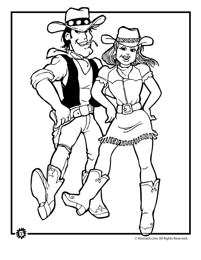 cowboy coloring pages cowboy and cowgirl dancing coloring page animal jr - Cowboy Cowgirl Coloring Pages